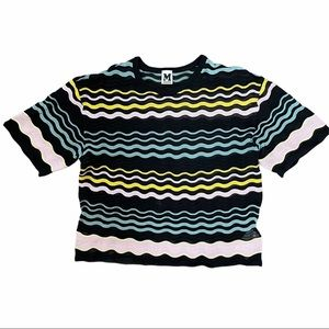 M MISSONI Zigzag Short Sleeve Knit Top Size 44